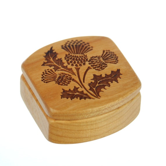 "Scottish Thistle Wooden Box, Solid Cherry, 1-3/4""L x 1-7/8""W x 7/8""D, Pattern MS61 Thistle, Paul Szewc, Masterpiece Laser"