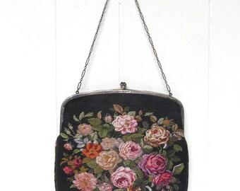 Vintage 1910s Purse / Edwardian Black Floral Petit Point Handbag Sterling Silver Frame