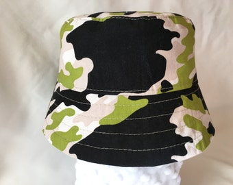 Camouflage Bucket Hat- Green, Grey and Black Camo