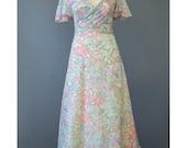 Boho Maxi Dress - 70s Evening Gown - Cotton Gauze White Floral Dress - Flutter Sleeve 1930s Style Dress - 1970s Bohemian Wedding Dress