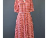 Vintage Red Plaid Dress - 70s Dress - Swing Dress - Western Dress - Puff Sleeve Dress - Square Dance Dress - Midi Dress - 1970s Dress (M)