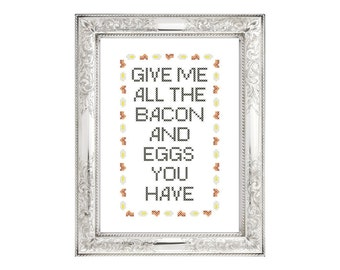 PDF PATTERN: Bacon and Eggs funny cross stitch pattern digital download