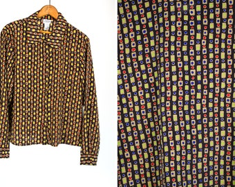 Vintage 1980's Abstract Polyester Button Up Blouse Women's Made in the USA M/L