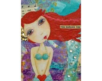 DARLING YOU, Mermaid, Ariel, Sea, Siren, Red Hair, Whimsical, Print, mixed media art, mixed media print, mixed media, artist, Alicia J Hayes