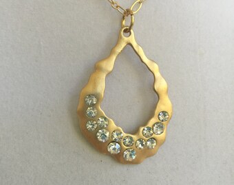 Crystal and Gold Design Necklace