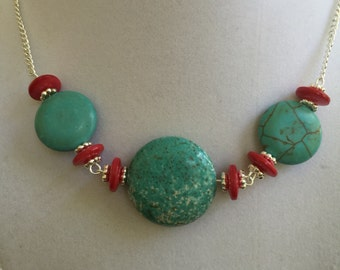 Silver, the Turquoise and Red Coral Necklace