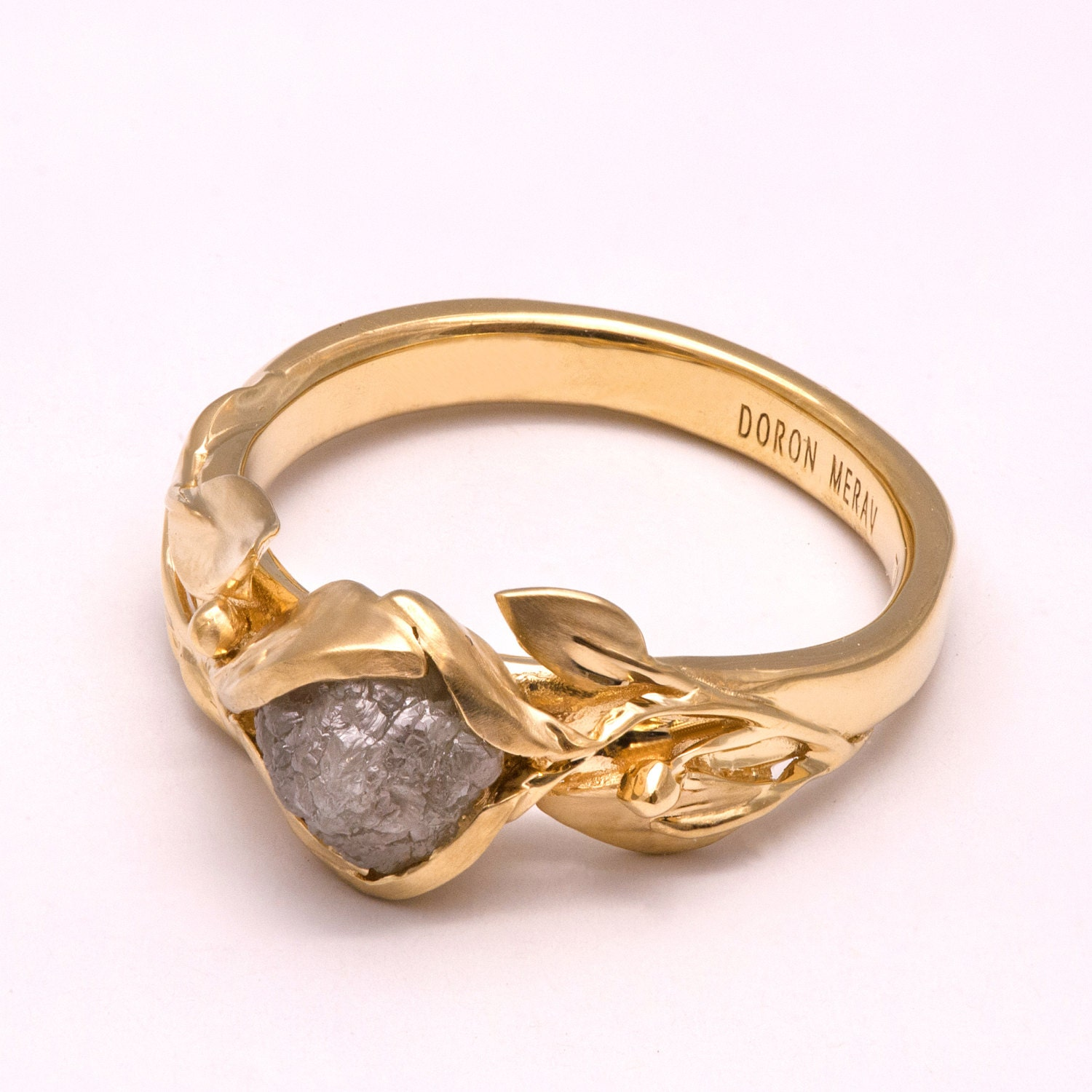 Leaves Engagement Ring 14K Gold and Rough Diamond engagement