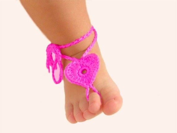 2 pairs Baby Heart Barefoot sandals Kids leg accessory Foot decoration Baby shoes Hot Pink  Red Barefoot Sandals