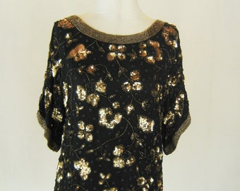Golden Floral Sequin Slouchy Shirt Top Glam