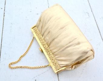 1960s Gold Lamé Greek Key Handbag