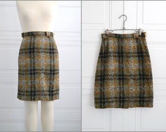 1960s Wool Plaid Tweed Skirt