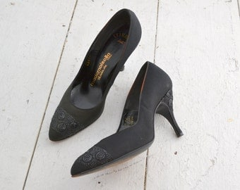 1960s Mademoiselle Black Embroidered Heels, Size 6B, with Original Box