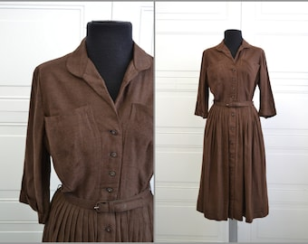 1950s Brown Wool Shirtwaist Dress