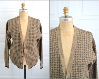 1980s Brown Houndstooth Wool Cardigan Sweater