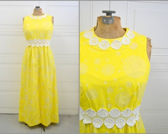 1960s Bright Yellow Lace Trimmed Maxi Dress