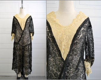 1920s Black and Cream Lace Dress