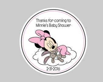 Set of 8  Baby Minnie Tags, Baby Shower Tags, Gender Reveal Tags, Favor Tags, Party Tags