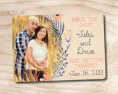 Photo Watercolor Floral Save the Date Magnet - Customized Digital Design, You Print