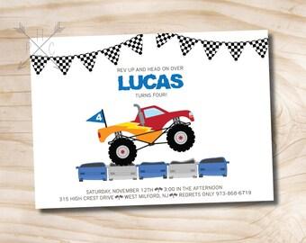 Monster Truck Invitation - Monster Truck Birthday Invitation - Truck Birthday Party Invitation - Custom PDF or Printed Invitation