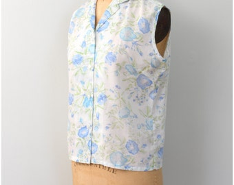 vintage 50s sleeveless blouse - ladies floral print shirt / blue rose print top / soft faded cotton blouse / 1950s summer shirt
