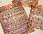 NEW! Rustic Watercolor and Wood Wedding Invitation Set. Floral wood wedding invitations