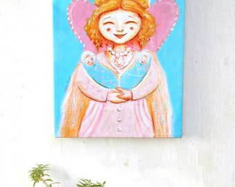 Gifts for tween girls, gift for new mother,  baby nursery ideas, baby tweens, feminine art, fairy art, oil pastels, canvas print for kids