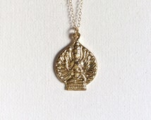 Lakshmi Necklace, Gold Lakshmi Pendant, Laksya Pendant Necklace, - Yoga Inspired Jewelry, Indira Boheme