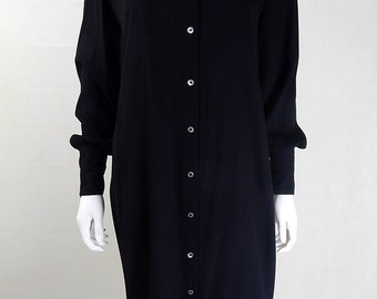 Vintage 1970s Zandra Rhodes Black Statement Collar Dress UK Size 12