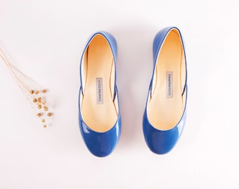 Blue Patent Leather Ballet Flats | Ballerina Shoes | Something Blue | Ballet Pumps | Powder Blue.....Ready to Ship