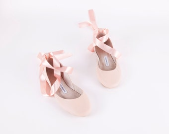 Nude Blush Ballet Flats with Satin Ribbons | Tie Around Ballerina Style Flat Shoes | Bridal Ballet Flats | Nude ... Made to Order