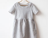 SPRING SALE Grey Striped Linen dress Loose fit s m
