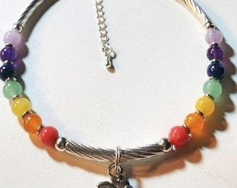 Chakra Anklet, Ankle Bracelet, Chakra Jewelry, Reiki Charged Jewelry, Yoga Jewelry, 7 Chakra Gemstone, Ohm Charm, Gay Pride Anklet, LGBT