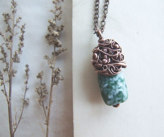 Green Jasper Necklace, Delicate Wire Wrapped Copper Jasper Necklace, Forest Jewelry, Boho Jewelry