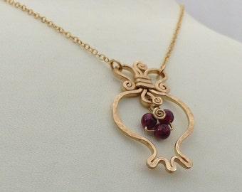 Gold Pomegranate necklace. RIMON-Garnet & 14k gold filled pendat, pomegranate gold necklace, fertility  prosperity necklace, judaica jewelry