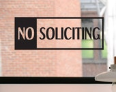 No Soliciting Decal, No Soliciting Sign, No Soliciting Sticker, Business Decal, Window Sticker, Front Door Decal, Window Decal, Window Sign