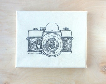 Embroidered Canvas Wall Art - Camera Sketch