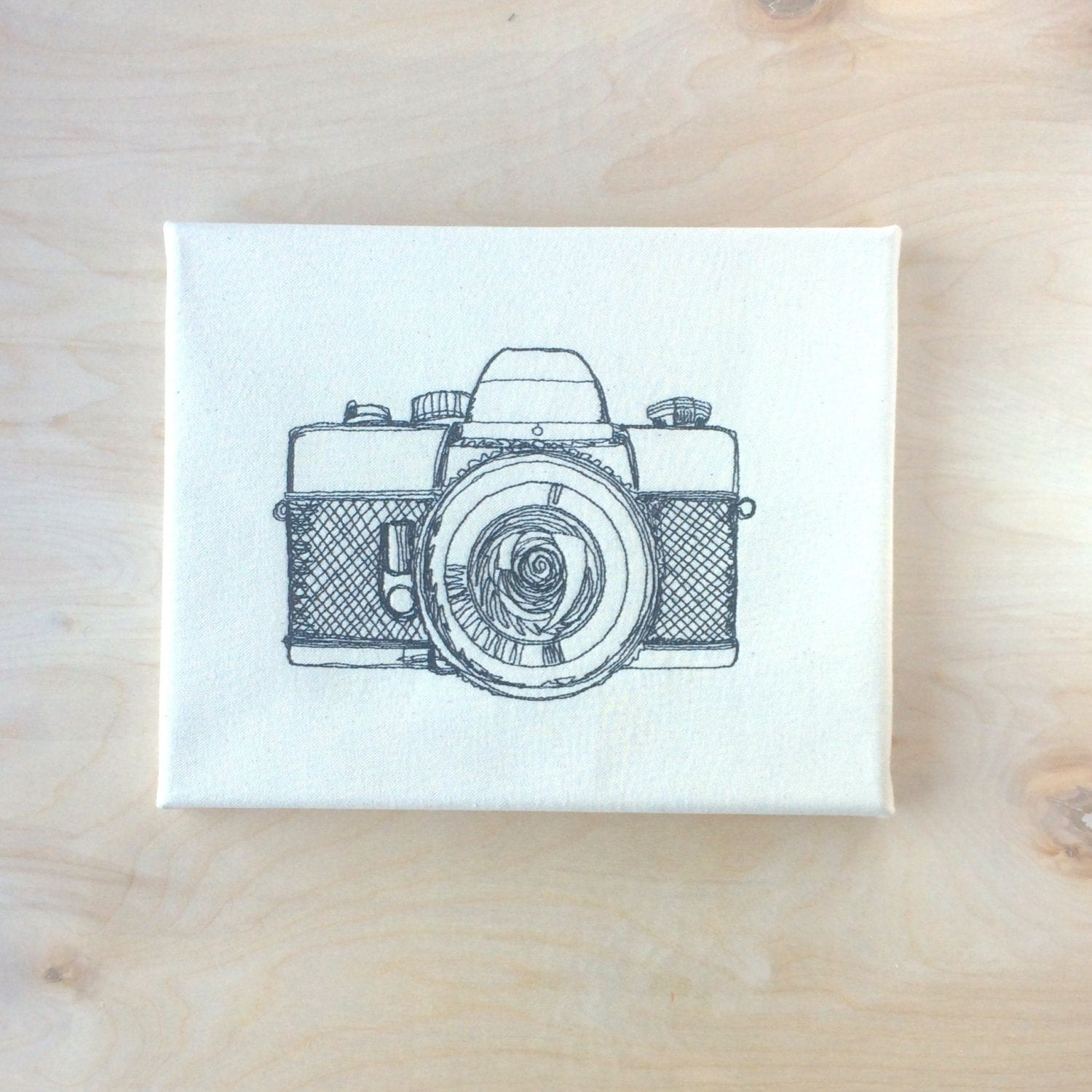 Embroidered Canvas Wall Art Camera Sketch