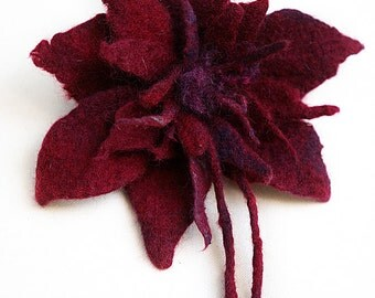 Large felted Flower Brooch Pin felt wool dark red burgundy rose felt accessory abstract flower felted handmade gift present felted jewelry