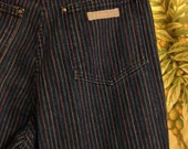 Vintage High Waisted Jordache Pinstripe Jeans Small Multicolor