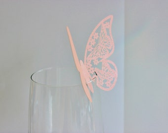 Pink Butterfly Laser Cut Place Card Glass Decor 10, 20 or 50 / Wine Glass Decor / Wedding / Anniversary / Birthday / Shower