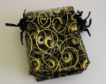 """Black and Gold Organza Bags Eyelash Print 2 3/4"""" x 3 3/4""""  Favor Bags 10+ Weddings / Party Favors / Jewelry Bags / Trade Shows"""