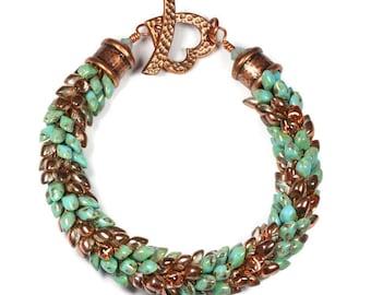 Turquoise Beaded Kumihimo Bracelet, Magatama Jewelry, Toggle Clasp, Dragon Scales, Chunky Copper