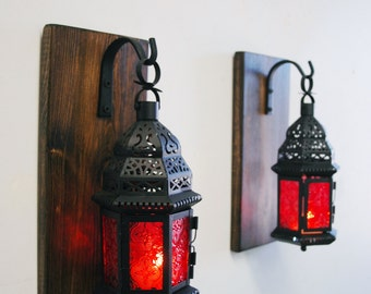 Red glass Moroccan Lantern set (2), Moroccan decor, Modern decor, shabby chic decor, lantern candle, Wall sconce, stained pine