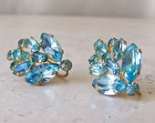 Vintage Earrings Blue Glass Gems Screw Back Earrings Czechoslovakia Designer Jewelry Mid Century Earrings Vintage 1960s