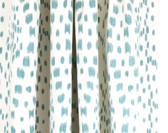 Brunschwig & Fils Les Touches Pleated Drapes in Aqua (comes in 9 Colors)