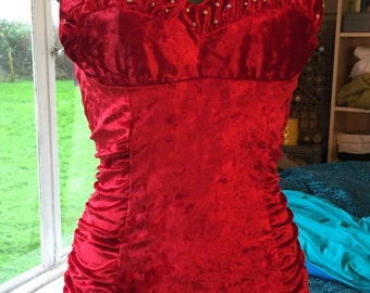 Vintage 1950s inspired ruby red velvet and rhinestones stretch bombshell swimsuit rockabilly VLV XS to 3XL