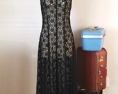 90's Strappy back Vintage Black Lace Dress, 1990's Vintage Sheer lace Maxi Dress, large L, Witchy Gypsy 1990's