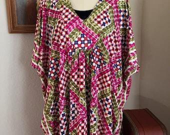 70's Vintage Butterfly Sleeve Caftan, Kimono Maxi Dress, Printed Hippie Dress, Braided Floral Lattice Print Dress/ S-M-L