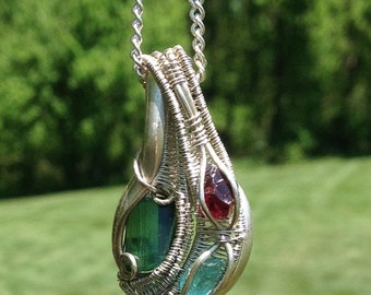 Gemstone Wire wrapped pendant in Sterling Silver
