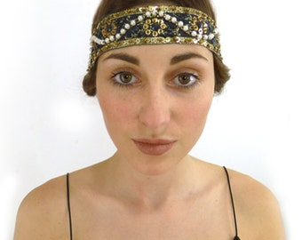 Boho Embroidered Flapper Headband, Women Gold Black Indie Hair Band hairband Gift for Her 1920s Gypsy Hippie Folk Woodland Bridesmaid